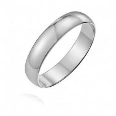 Классическое обручальное кольцо из белого золота 4 мм