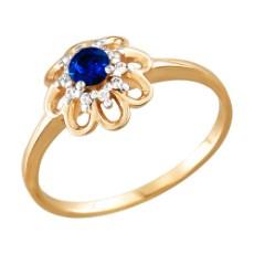 Кольцо из золота с синим фианитом
