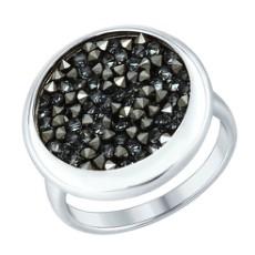 Кольцо из серебра с черными кристаллами Swarovski