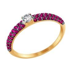 Кольцо из золота с бесцветным и красными фианитами