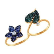 Кольцо-трансформер из золота с фианитами и синими и зелеными фианитами