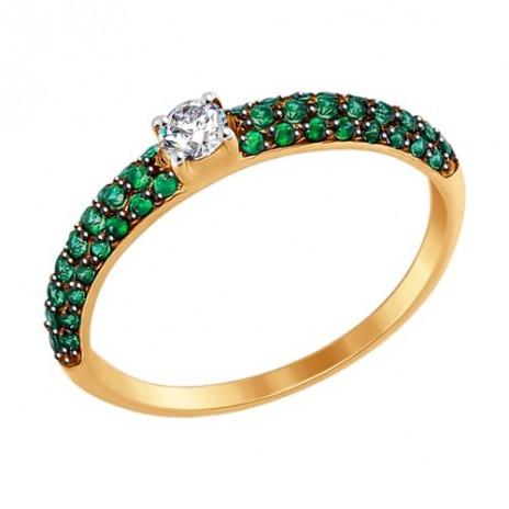 Кольцо из золота с бесцветным и зелеными фианитами