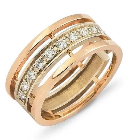 Обручальное кольцо с бриллиантовой дорожкой
