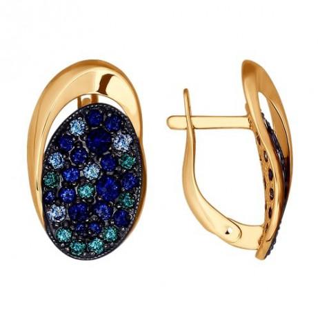 Серьги из золота с зелеными, синими и голубыми фианитами