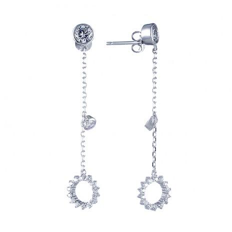 Длинные серьги из серебра с фианитами Element47 by JV