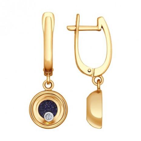 Серьги из комбинированного золота с миксом камней