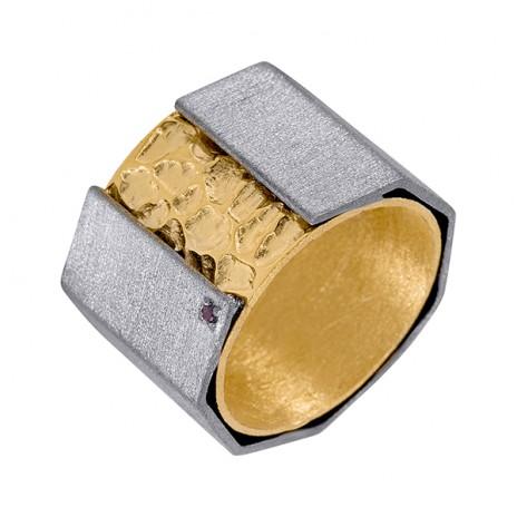 Кольцо из серебра 925 пробы с турмалинами