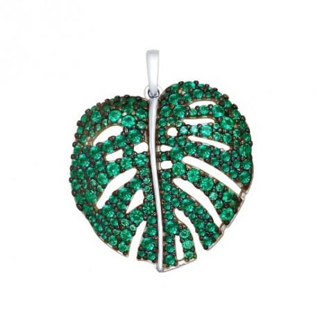 Подвеска из серебра с зелеными фианитами
