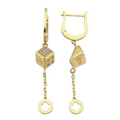 Золотые серьги с белыми сапфирами бренда Roberto Bravo