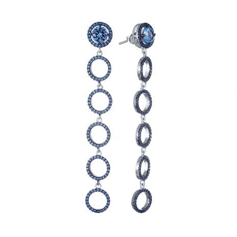 Серьги из серебра с синими фианитами Element47 by JV