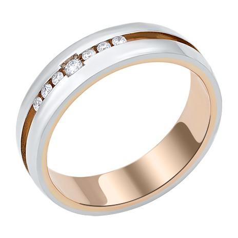 Обручальное кольцо из белого и красного золота с бриллиантами