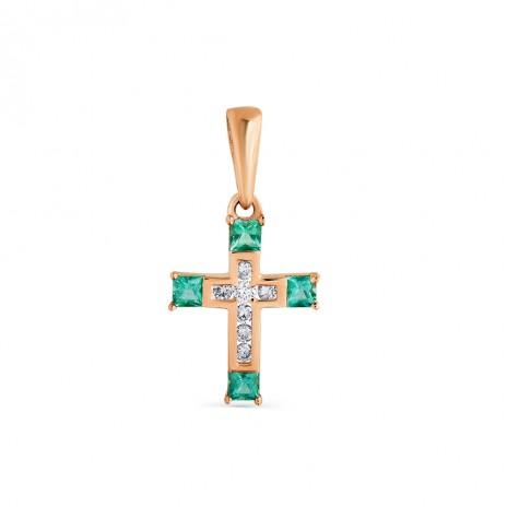 Золотой крест с бриллиантами и изумрудами