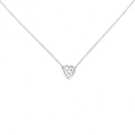 Колье из белого золота с бриллиантом в форме сердца