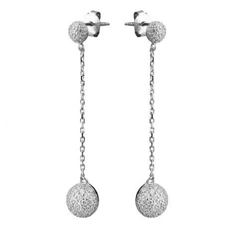 Длинные серьги из серебра с фианитами