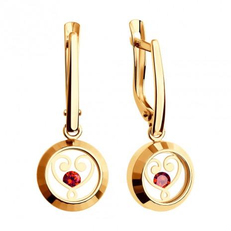 Золотые серьги с минеральным стеклом