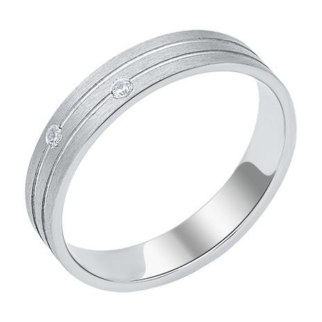 Обручальное кольцо из белого золота с 2 фианитами