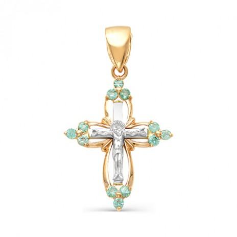 Золотой крест с изумрудами