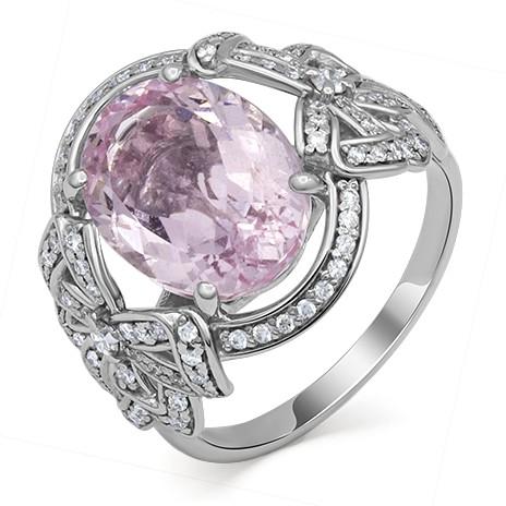 Кольцо из белого золота с розовым морганитом и бриллиантами