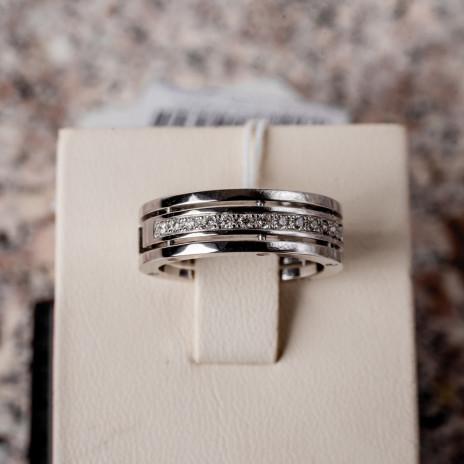 Обручальное кольцо из белого золота с дорожкой бриллиантов