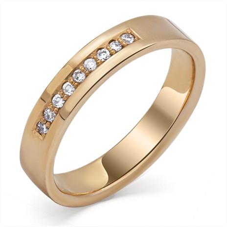 Обручальное кольцо с дорожкой из 9 бриллиантов