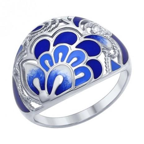 Кольцо из серебра с синей эмалью