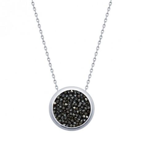 Колье из серебра с черными кристаллами Swarovski