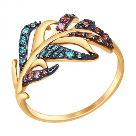 Кольцо из золота с зелеными и розовыми фианитами