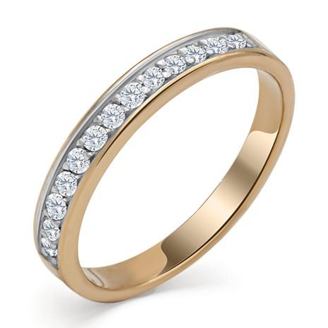 Золотое обручальное кольцо с дорожкой бриллиантов