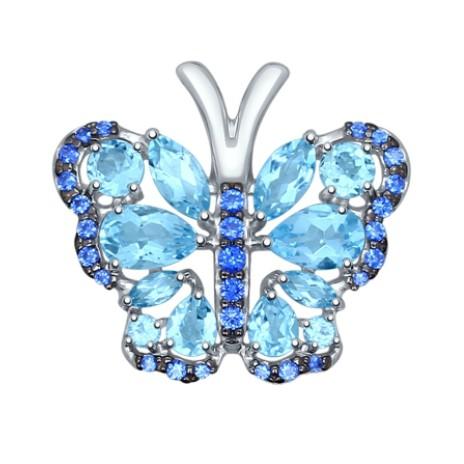 Подвеска из серебра с голубыми топазами и синими фианитами