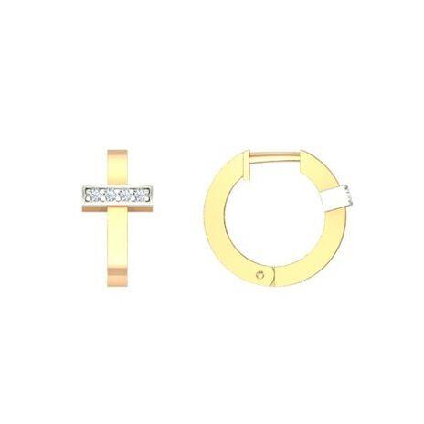 Золотые серьги с 8 фианитами