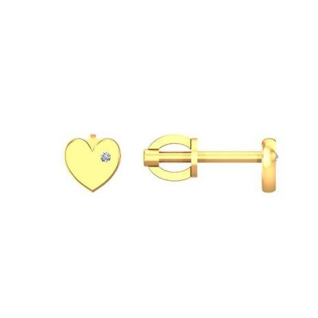 Золотые пусеты с фианитами Сердца