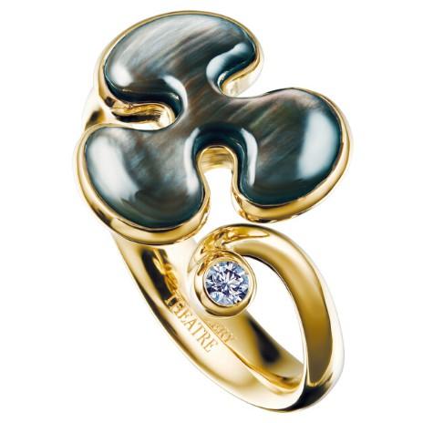 Золотое кольцо с перламутром, коллекция Free forms