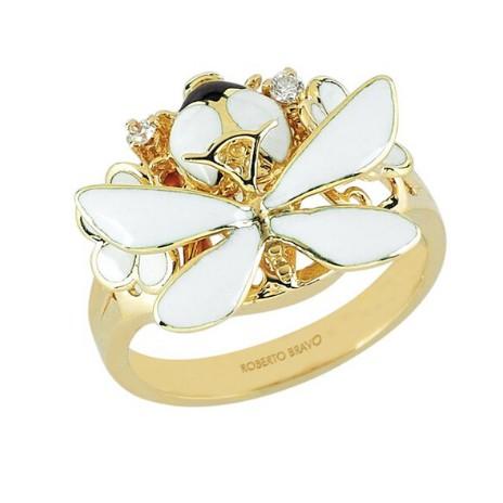 Золотое кольцо с бриллиантами и эмалью бренда Roberto Bravo
