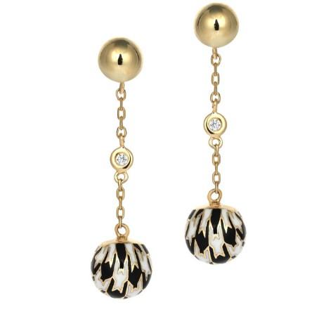 Золотые серьги с бриллиантами и эмалью бренда Roberto Bravo