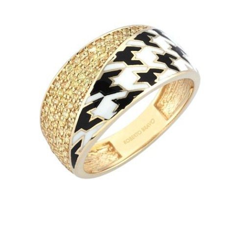Золотое кольцо с белыми сапфирами и эмалью бренда Roberto Bravo