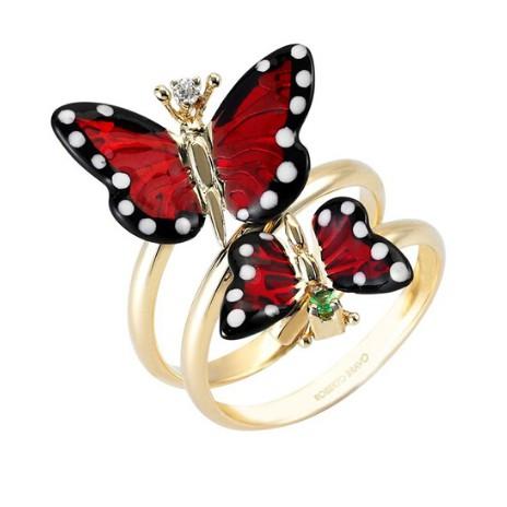 Золотое кольцо с сапфиром, бриллиантом и эмалью бренда Roberto Bravo