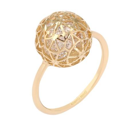 Золотое кольцо с 15 цирконами бренда Roberto Bravo