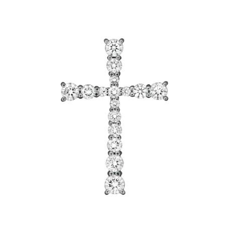 Крест из белого золота 585 пробы, украшенная бриллиантами