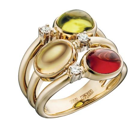 Кольцо из желтого золота 585 пробы, украшенное бриллиантами, гранатом натуральным, хризолитом, цитрином