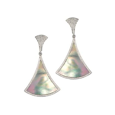 Серебряные серьги с перламутром и фианитами