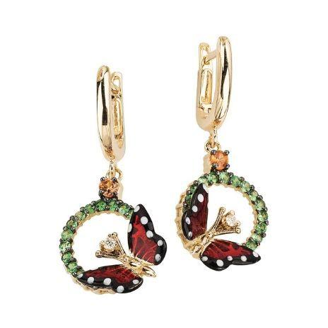 Золотые серьги с бриллиантами и сапфирами бренда Roberto Bravo
