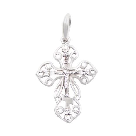 Крест из белого золота с 4 бриллиантами