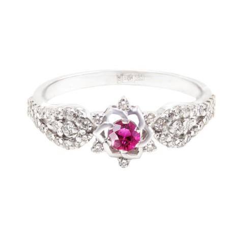 Кольцо из белого золота с бриллиантами и рубином