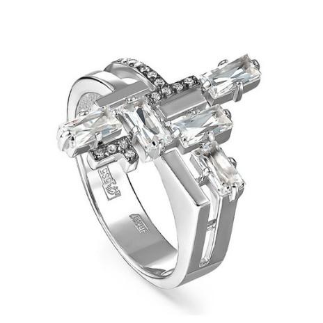 Кольцо из белого золота с бриллиантами и горным хрусталём