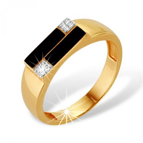 Кольцо печатка из золота 585 пробы с фианитом