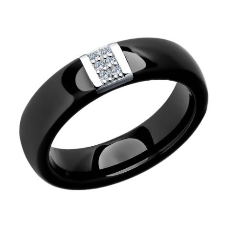 Кольцо из серебра с керамической вставкой и фианитом