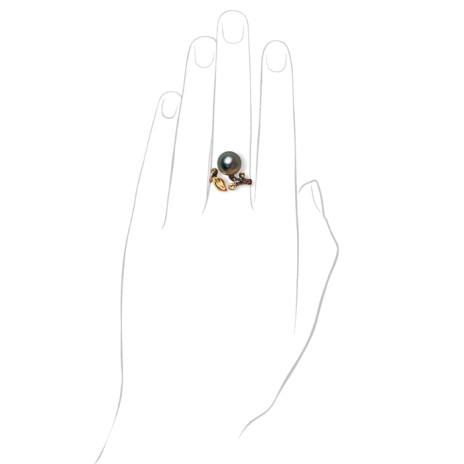 Кольцо с черным жемчугом и бриллиантами, коллекция Eden