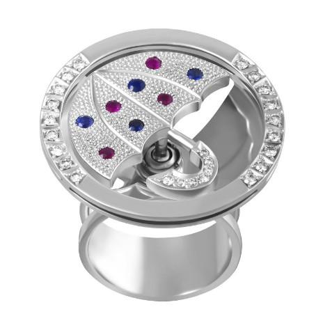 Кольцо с рубинами, сапфирами и бриллиантами