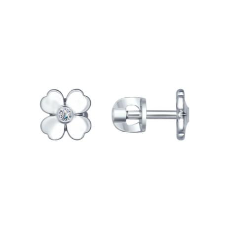 Серьги-пусеты из серебра с бриллиантами «Удача»