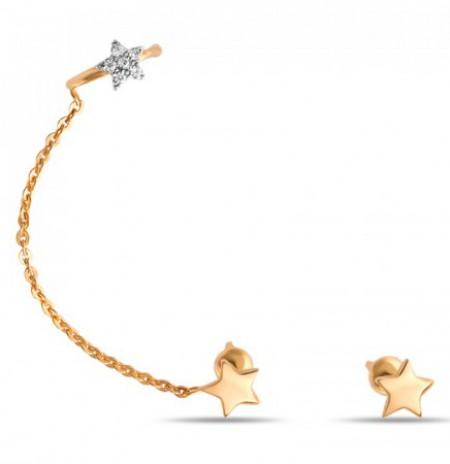 Асимметричные золотые серьги с фианитами